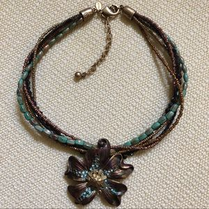 Chico's Multi-strand Necklace with flower pendant